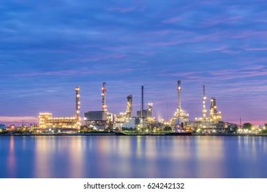 Oil refinery factory at dawn - Bangkok, Thailand