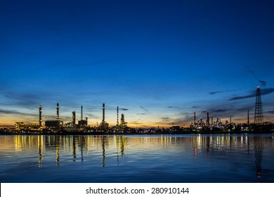 Oil refinery factory in the morning.