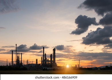 Oil Refinery factory in the morning , petrochemical plant , Petroleum.