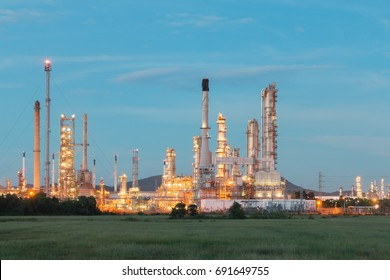 Oil Refinery factory in the morning , petrochemical plant for Petroleum.