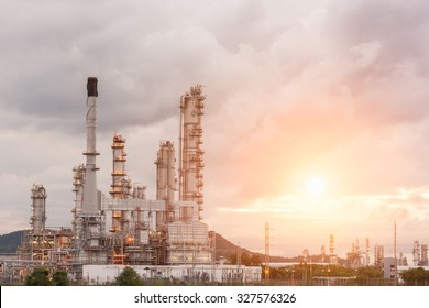 Oil Refinery factory in the morning and Sunrise, Petroleum, petrochemical plant