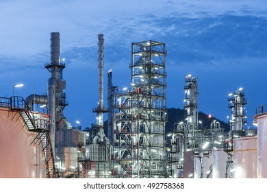 Oil Refinery factory, petrochemical plant, Petroleum at dark