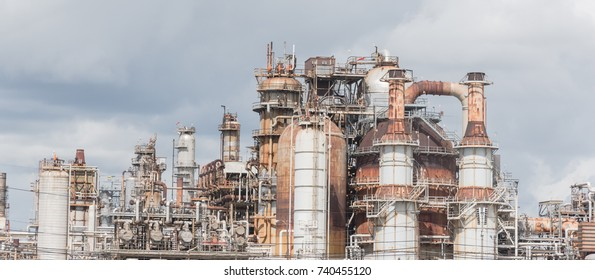 Oil refinery, oil factory, petrochemical plant in Pasadena, Texas, USA under cloudy sky. Panorama style.