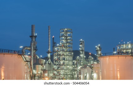 Oil Refinery factory Petroleum at night, petrochemical plant,
