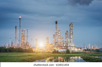 Oil Refinery factory Petroleum at twilight sunset, petrochemical plant