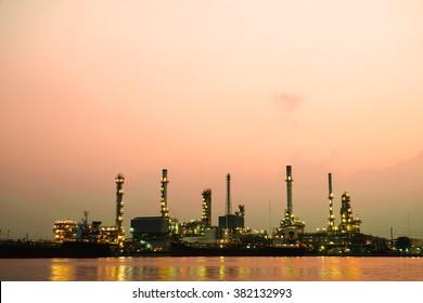 Oil refinery factory at sunrise , bangkok Thailand.