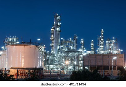 Oil refinery gas industry plant of petroleum industry production at sunset