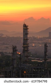 Oil Refinery and Gas Plant on Sunset Background
