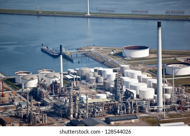 Oil refinery in a harbor