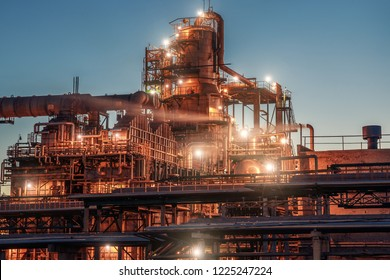 Oil refinery industrial plant or factory, storage distillery tanks and steel pipeline, modern petrochemical technologies