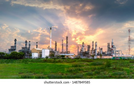 Oil refinery industrial at twilight in Thailand.