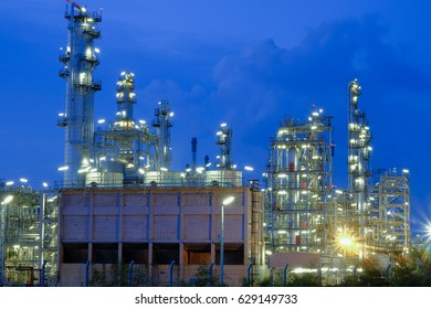 Oil refinery industry, Petrochemical plant at twilight.