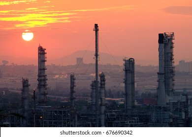 Oil refinery industry And Petrochemical plant at twilight  sunset background.