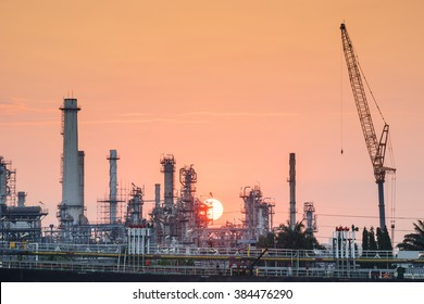 oil refinery industry plant along sunrise