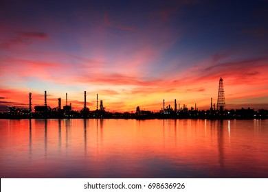oil refinery industry plant along twilight morning. View gas processing factory. gas and oil industry. Oil and gas industry petrochemical plant at Bangkok ,Thailand