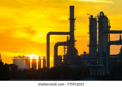 Oil refinery industry at sunrise, Oil refiner Industry background concept