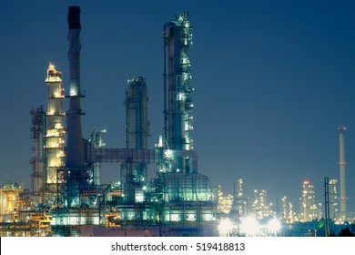Oil refinery industry at twilight.
