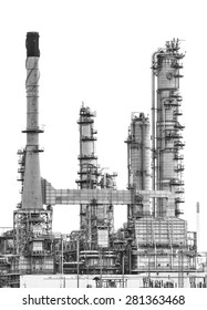 Oil refinery isolate on white background