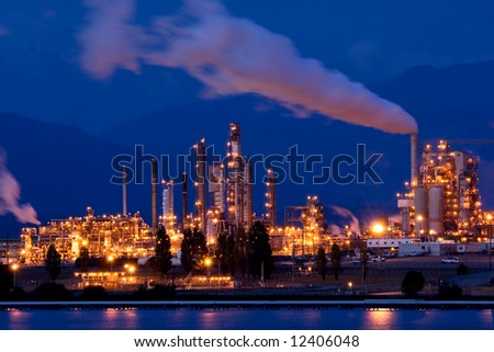 Oil refinery at night, Anacortes, Washington state