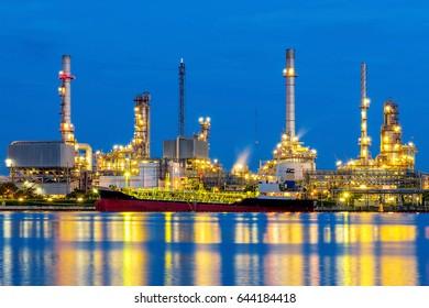 Oil refinery at night in Bangkok, Thailand.