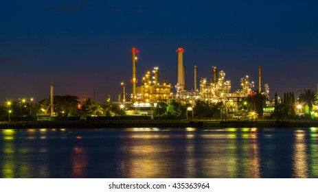 Oil refinery at night  , Chao Phraya river, Thailand