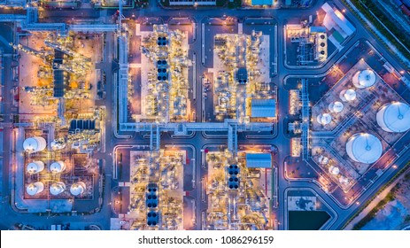 Oil refinery at night Singapore