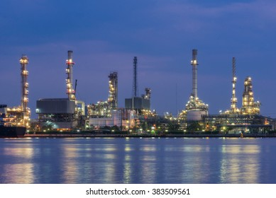 Oil refinery at night time,Oil refinery
