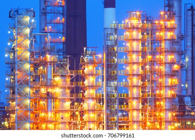 Oil refinery at night.Industrial business.