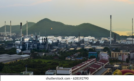 Oil Refinery (petrochemical industry) at dusk.