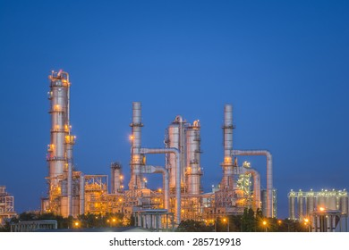 Oil refinery or petrochemical industry at twilight sky
