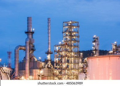 Oil refinery and Petroleum industry at night time, sunset, petrochemical industrial