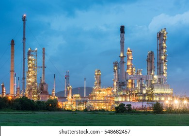 Oil refinery and Petroleum industry at night, petrochemical industrial