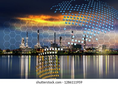 Oil refinery plant with connection line background for your work .