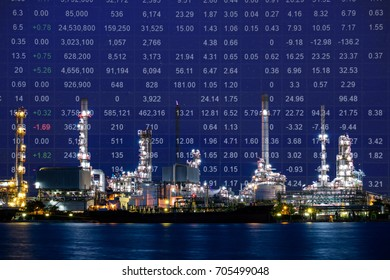 Oil refinery plant, Crude oil stock price index, energy index. Double exposure