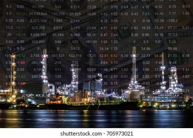 Oil refinery plant, Crude oil stock price index, energy market index. Dollar money. Double exposure