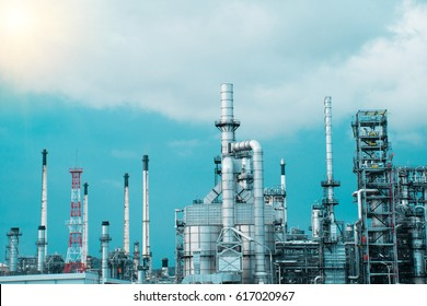 oil refinery plant on blue sky.