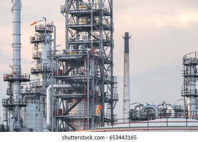 Oil refinery plant. Power and energy, Petroleum, Petrochemical concept.