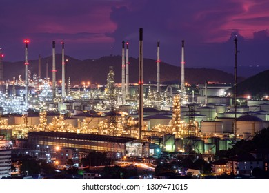 oil refinery plant with twilight sky