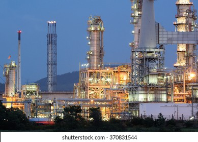 Oil refinery plant at twilight time