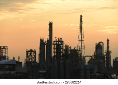 Oil refinery plants during sunset..