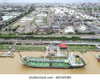 Oil refinery, Oil port ,Oil tanker ship at Thailand .