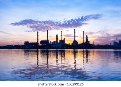 Oil refinery at sun rise time
