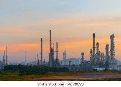 Oil refinery at sun rise time. Factory
