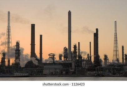 Oil refinery at sunset in Antwerp port