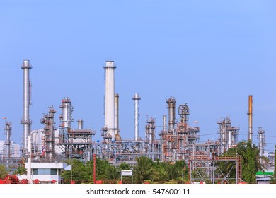 Oil refinery tower and chimney