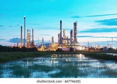oil refinery in twilight.