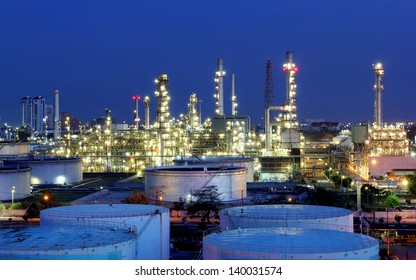 The Oil refinery at twilight in Bangkok, Thailand