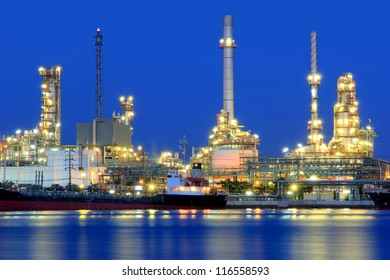 Oil refinery at twilight, Chao Phraya river, Thailand