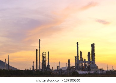 Oil refinery at twilight - factory