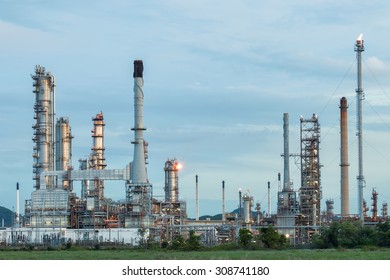 Oil refinery at twilight, locations in Thailand.